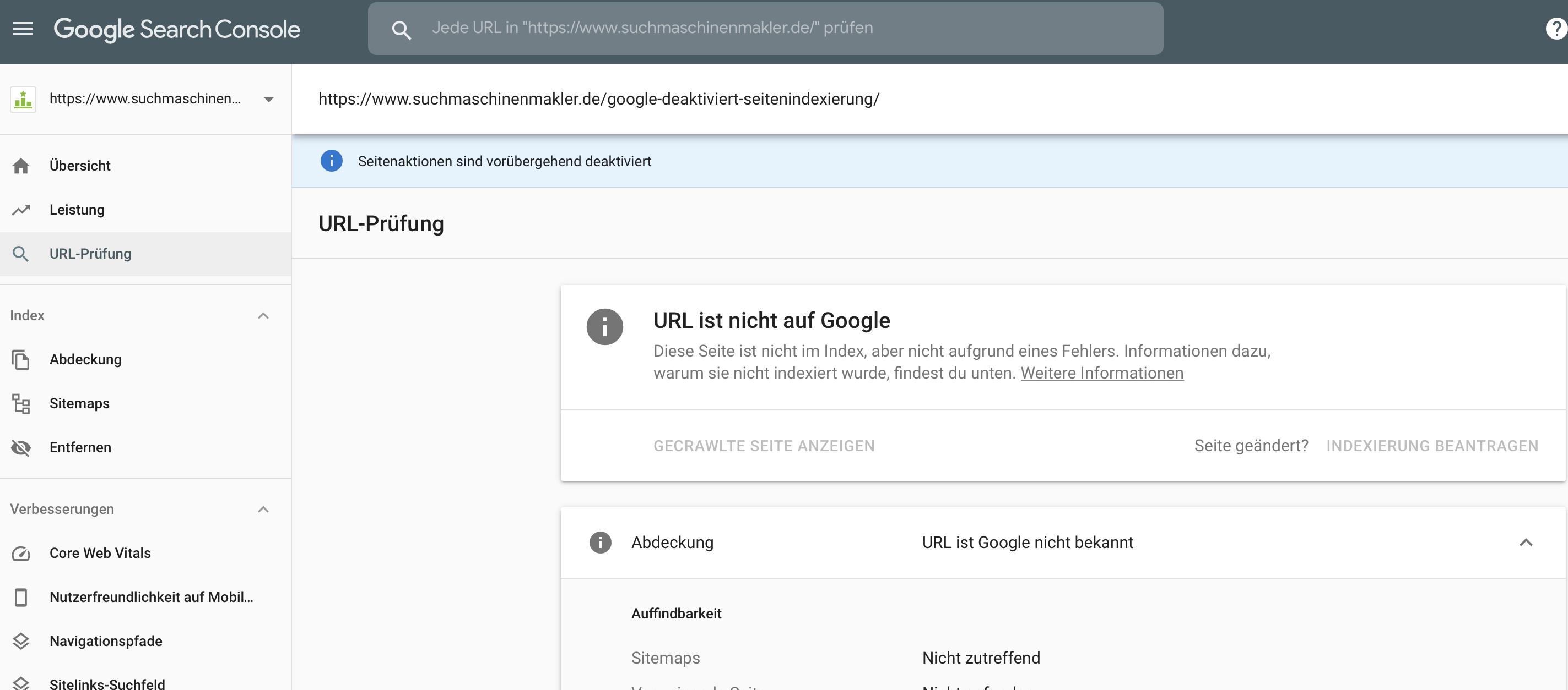 Google deaktiviert Indexierung